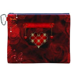 Wonderful Elegant Decoative Heart With Flowers On The Background Canvas Cosmetic Bag (xxxl) by FantasyWorld7