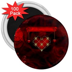 Wonderful Elegant Decoative Heart With Flowers On The Background 3  Magnets (100 Pack) by FantasyWorld7