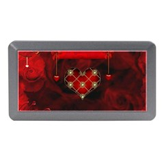 Wonderful Elegant Decoative Heart With Flowers On The Background Memory Card Reader (mini) by FantasyWorld7