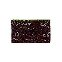 Hippy Boho Chestnut Warped Pattern Cosmetic Bag (xs) by KirstenStar