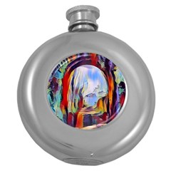 Abstract Tunnel Round Hip Flask (5 Oz) by 8fugoso