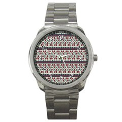 Winter Pattern 5 Sport Metal Watch by tarastyle