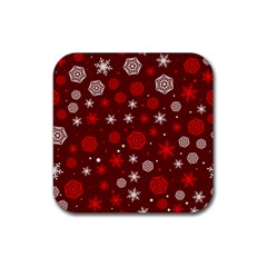 Winter Pattern 14 Rubber Square Coaster (4 Pack)  by tarastyle