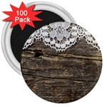 Shabbychicwoodwall 3  Magnets (100 pack)