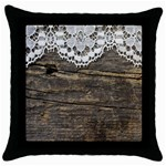 Shabbychicwoodwall Throw Pillow Case (Black)