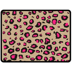 Pink Leopard 2 Fleece Blanket (large)  by TRENDYcouture