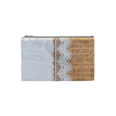 Parchement,lace And Burlap Cosmetic Bag (small)  by 8fugoso