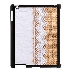 Parchement,lace And Burlap Apple Ipad 3/4 Case (black) by 8fugoso