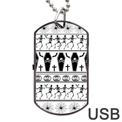 Halloween Pattern Dog Tag Usb Flash (two Sides) by ValentinaDesign
