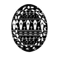 Halloween Pattern Ornament (oval Filigree) by ValentinaDesign