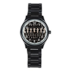 Halloween Pattern Stainless Steel Round Watch by ValentinaDesign