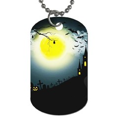 Halloween Landscape Dog Tag (two Sides) by ValentinaDesign