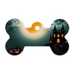 Halloween Landscape Dog Tag Bone (one Side) by ValentinaDesign