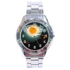 Halloween Landscape Stainless Steel Analogue Watch by ValentinaDesign