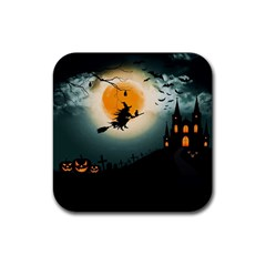 Halloween Landscape Rubber Coaster (square)  by ValentinaDesign