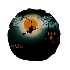 Halloween Landscape Standard 15  Premium Flano Round Cushions by ValentinaDesign