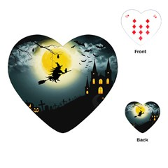 Halloween Landscape Playing Cards (heart)  by ValentinaDesign