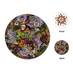 Halloween Pattern Playing Cards (round)  by ValentinaDesign