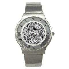Halloween Pattern Stainless Steel Watch by ValentinaDesign