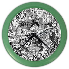 Halloween Pattern Color Wall Clocks by ValentinaDesign