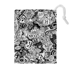Halloween Pattern Drawstring Pouches (extra Large) by ValentinaDesign