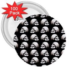Halloween Skull Pattern 3  Buttons (100 Pack)  by ValentinaDesign