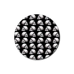 Halloween Skull Pattern Rubber Coaster (round)  by ValentinaDesign