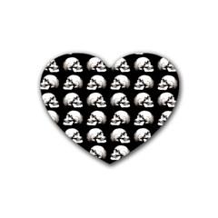 Halloween Skull Pattern Rubber Coaster (heart)  by ValentinaDesign