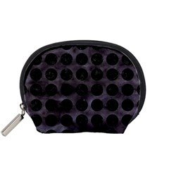 Circles1 Black Marble & Black Watercolor (r) Accessory Pouches (small)  by trendistuff