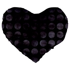 Circles1 Black Marble & Black Watercolor Large 19  Premium Heart Shape Cushions by trendistuff