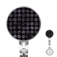 Circles1 Black Marble & Black Watercolor Stainless Steel Nurses Watch by trendistuff