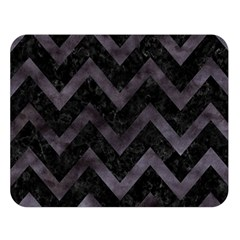 Chevron9 Black Marble & Black Watercolor Double Sided Flano Blanket (large)  by trendistuff