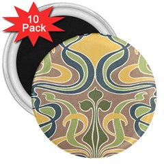 Art Nouveau 3  Magnets (10 Pack)  by 8fugoso