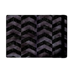 Chevron2 Black Marble & Black Watercolor Apple Ipad Mini Flip Case by trendistuff