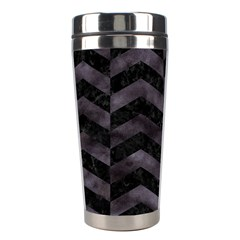 Chevron2 Black Marble & Black Watercolor Stainless Steel Travel Tumblers by trendistuff