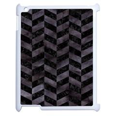 Chevron1 Black Marble & Black Watercolor Apple Ipad 2 Case (white) by trendistuff