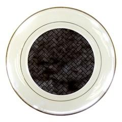 Brick2 Black Marble & Black Watercolor (r) Porcelain Plates by trendistuff