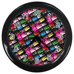 Pattern Colorfulcassettes Icreate Wall Clocks (black) by iCreate