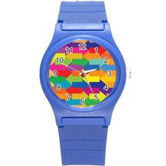 Arrow Rainbow Orange Blue Yellow Red Purple Green Round Plastic Sport Watch (s) by Mariart
