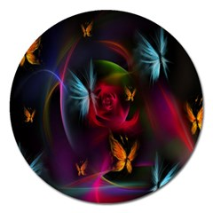Beautiful Butterflies Rainbow Space Magnet 5  (round) by Mariart