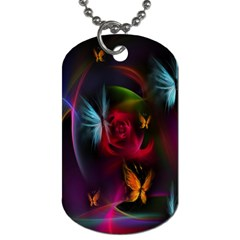 Beautiful Butterflies Rainbow Space Dog Tag (two Sides) by Mariart