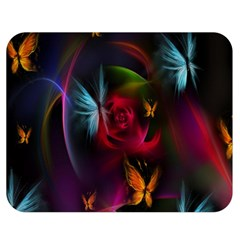 Beautiful Butterflies Rainbow Space Double Sided Flano Blanket (medium)  by Mariart