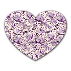 Vegetable Cabbage Purple Flower Heart Mousepads by Mariart