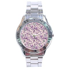 Vegetable Cabbage Purple Flower Stainless Steel Analogue Watch by Mariart