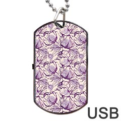 Vegetable Cabbage Purple Flower Dog Tag Usb Flash (two Sides) by Mariart