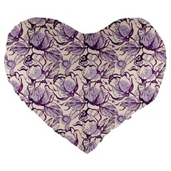 Vegetable Cabbage Purple Flower Large 19  Premium Heart Shape Cushions by Mariart