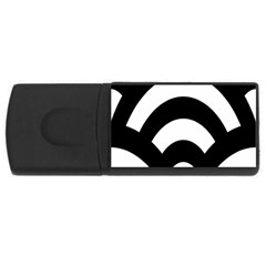 Circle White Black Rectangular Usb Flash Drive by Mariart