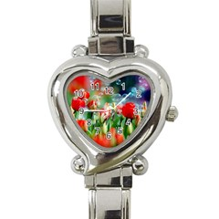 Colorful Flowers Heart Italian Charm Watch by Mariart
