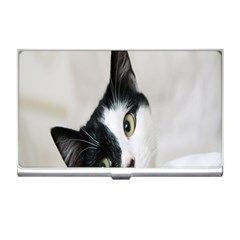 Cat Face Cute Black White Animals Business Card Holders by Mariart