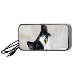 Cat Face Cute Black White Animals Portable Speaker (black) by Mariart